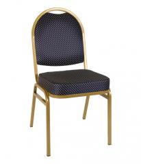 Банкетный стул Раунд 20мм -золотой, синяя корона