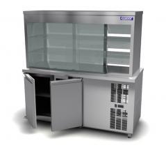 Витрина холодильная Камик ВХ 1150х700х1850 ( сплошное фронтальное стекло, 2-е стеклянные полки 8мм.)