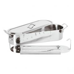 Форма для приготовления рыбы на пару сталь нерж. H=14.9,L=52.6,B=16.9см металлич.