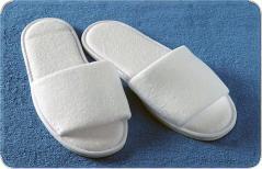 Тапочки махровые открытые, белые, подошва окантованная