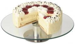 Подставка для торта вращающ. стекло,сталь D=30,H=7см прозр.,металлич.