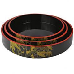 Блюдо-барабан для суши пластик D=24,H=5см черный,желт.