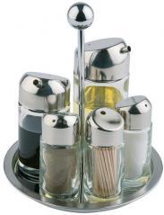 Набор для специй 5 предметов стекло,сталь нерж. H=20,L=16,B=16см прозр.,металлич.