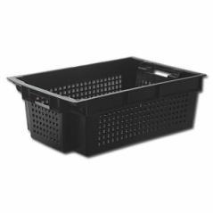 Ящик 600х400х200мм для овощей конусный, перфорированный (черный)