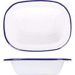 Блюдо эмалиров. сталь; ,L=19,5,B=14,5см; белый,синий