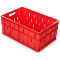 Ящик 600х400х260мм перфорированные бока сплошное дно, мясной, ПЭНД