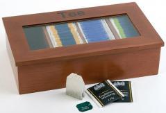 Контейнер для пакетиков чая 4 отделения 33,5х20х9см дерево, коричневая APS
