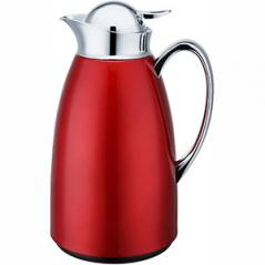 Кофейник-термос сталь нерж.,стекло; 1л; ,H=27см; красный,серебрян.