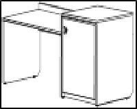 Венеция New Стол письменный с местом под фригобар и сейф правый 140х52,2х960