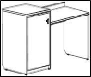 Венеция New Стол письменный с местом под фригобар и сейф левый 140х52,2х960